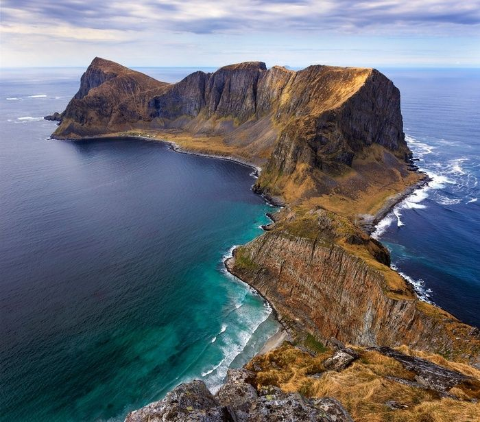 Beach Landscape With Fishermen: #island, #nature, #Norway, #sea, #peninsula, #cliff
