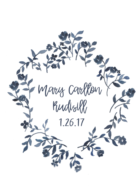 custom watercolor crest Nakış