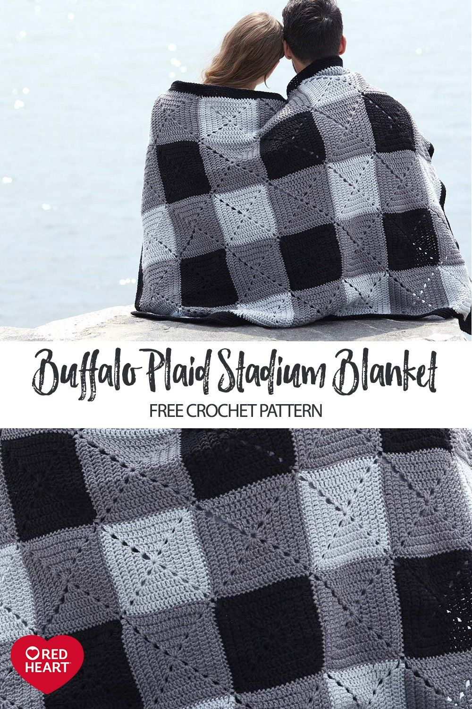 buffalo plaid crochet stadium blanket