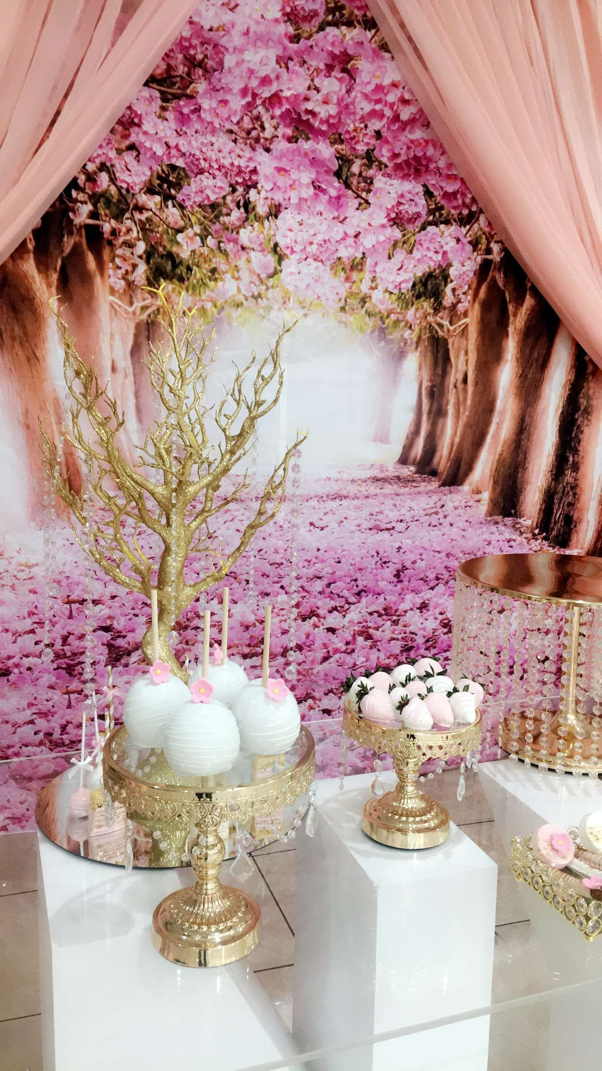 Pin By Wandaseventdesigns On Cherry Blossom Sweet 16 Table Decorations Decor Cherry Blossom