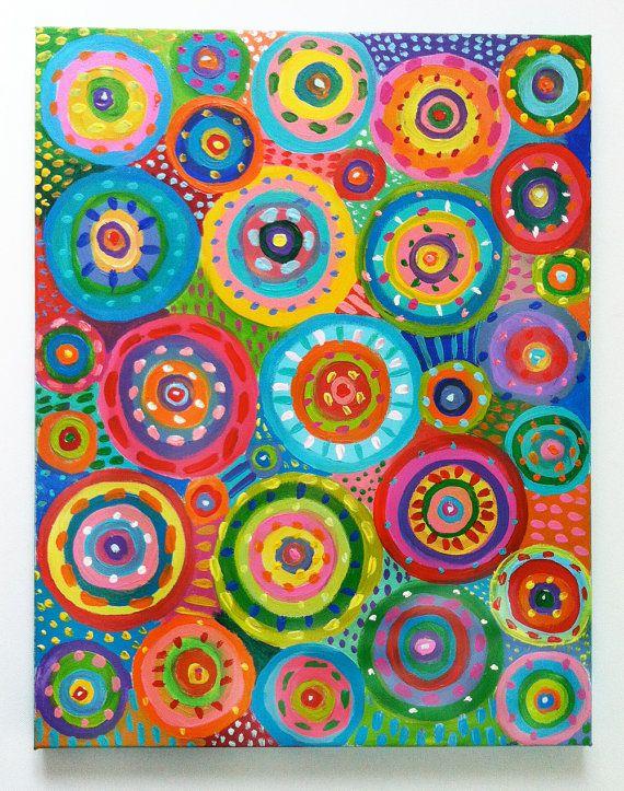 Pintura abstracta círculos / Original acrílico por tushtush en Etsy
