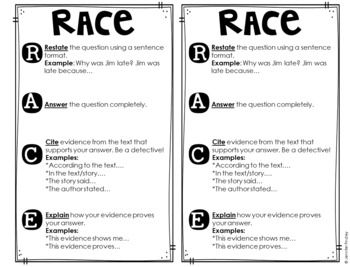 Teaching RACE Constructed Response Strategy FREEBIES