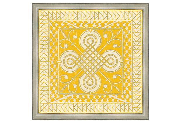 Yellow Tile Ii On Onekingslane Com For Yellow And Grey Bedroom Square Wall Art Yellow Tile Decorative Prints