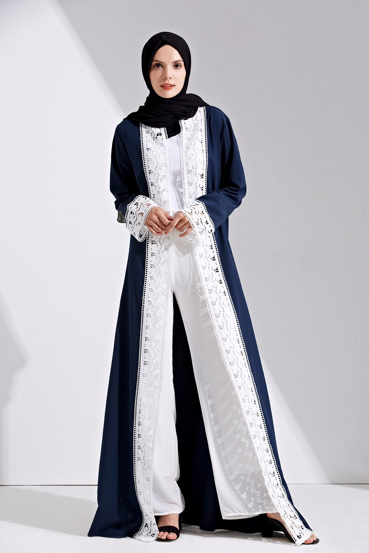 fbd037b7009 Fashion Muslim Lace Maxi Dress Open Abaya Cardigan Long Robe Gowns Tunic  Kimono Jubah Middle East Ramadan Arab Islamic Clothing but if you buy Muslim  Abaya ...