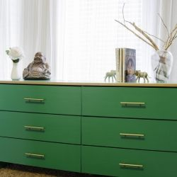 Turn an ordinary piece of furniture into a bright bold statement using Pantone's colour of the year and gold gilding.