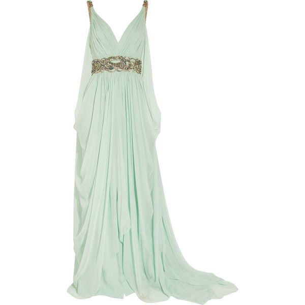 Marchesa Crystal-embellished silk-chiffon gown (€2.205) ❤ liked on Polyvore featuring dresses, gowns, vestidos, long dresses, mint, green evening dress, beaded evening gowns, short green dress and mint green dress