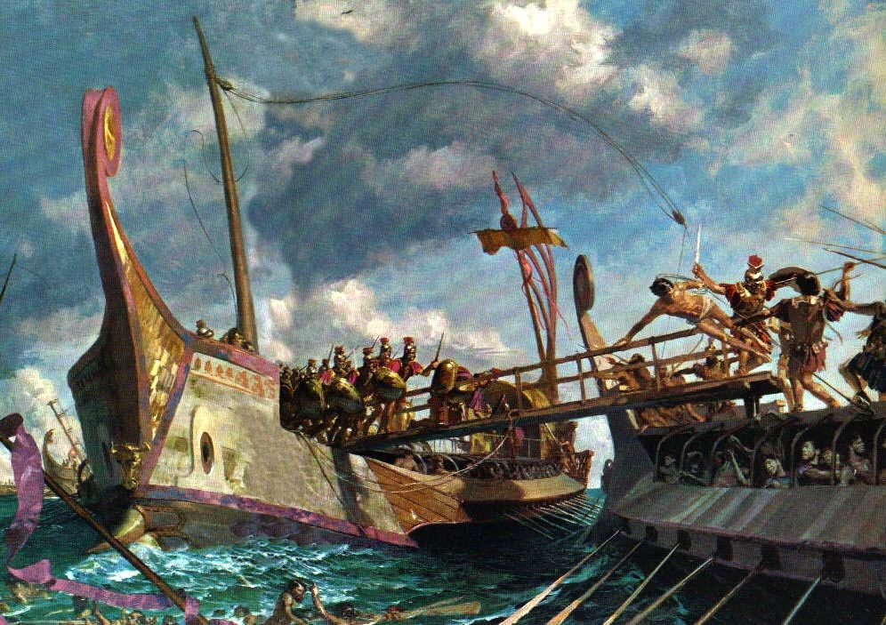 A Roman warship employs its Corvus against a Punic adversary. 260 BC.