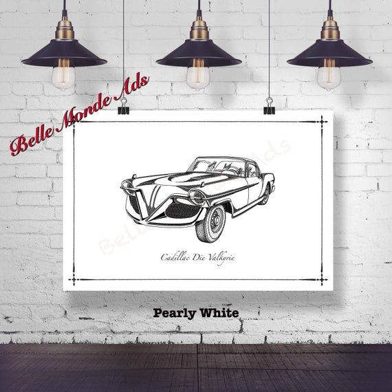 1955 Cadillac Die Valkyrie Drawing – Black and White Graphic Art Print – Vintage Car Illustration – Classic Car Decor – Car Enthusiast Gift