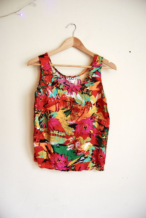 711953f79a6477 Vintage Hipster crop top hawaiian tank top tropical shirt sleeveless floral  top colorful bright womens SMALL