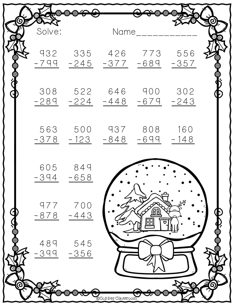 Free Christmas themed three digit subtraction with regrouping ...