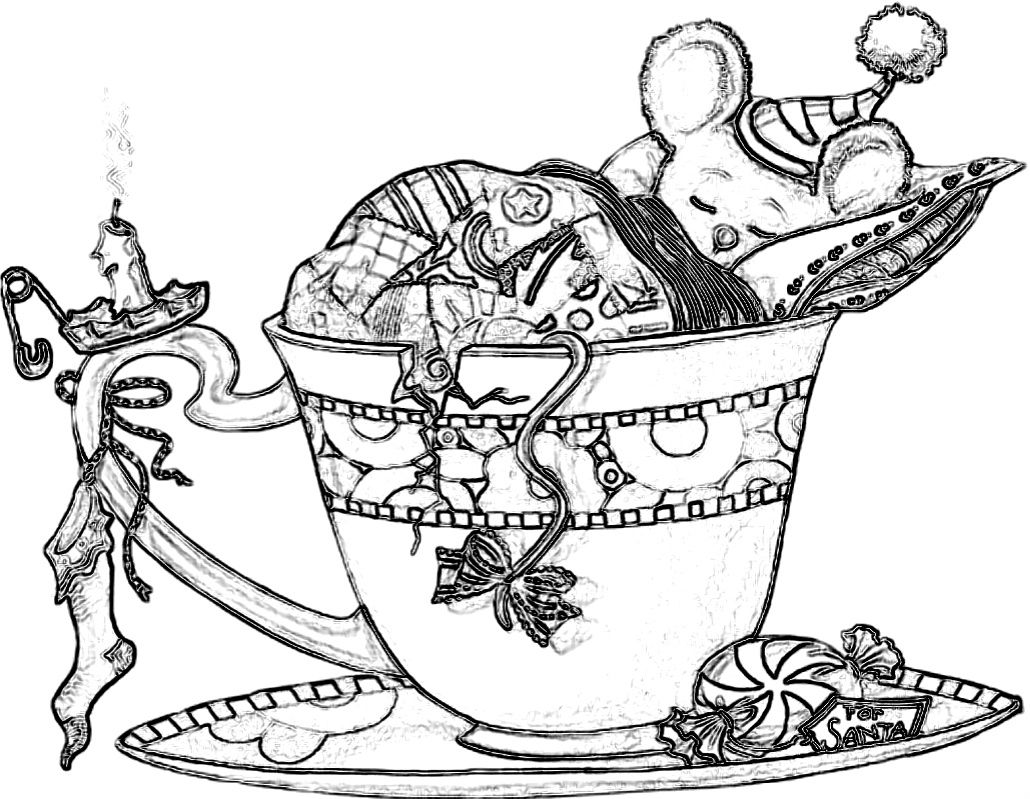 Christmas Mouse sleeping in a tea cup. Coloring Pages ...