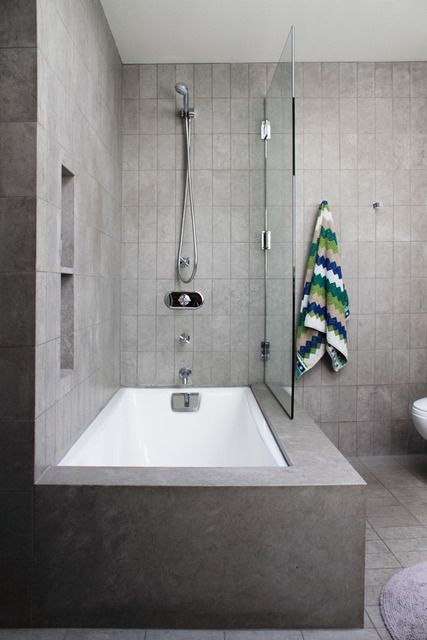tile around tub shower combo. Nice compromise between shower and tub  House Bathin time