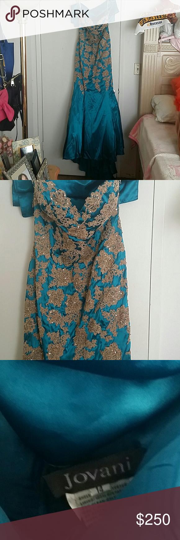 Turquise and beige satin jovani mermaid dress