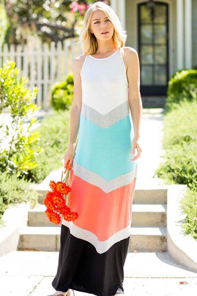 8c513e201d1 Color Block Maxi Dress