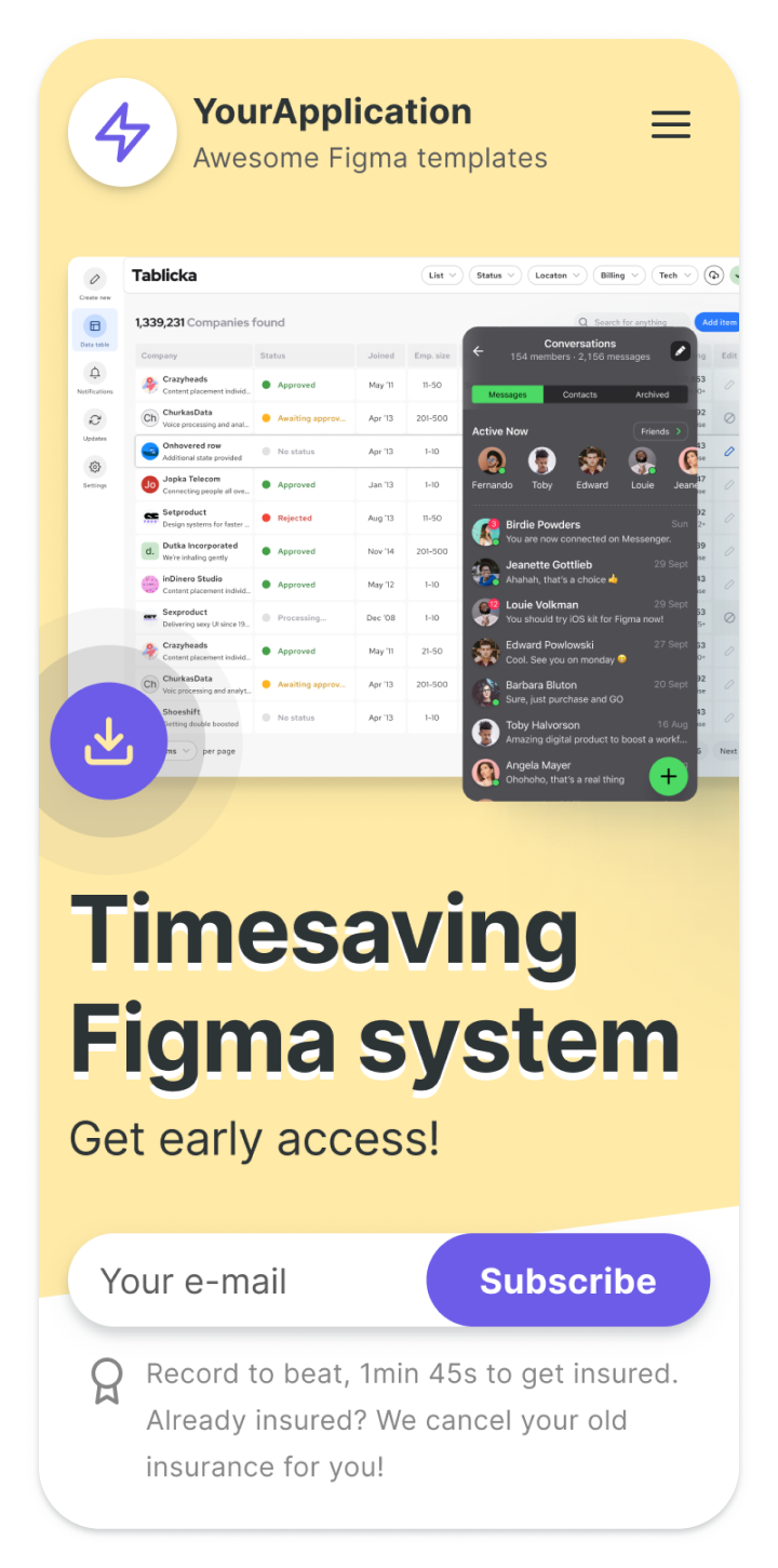 Figma landing page templates - Web design library