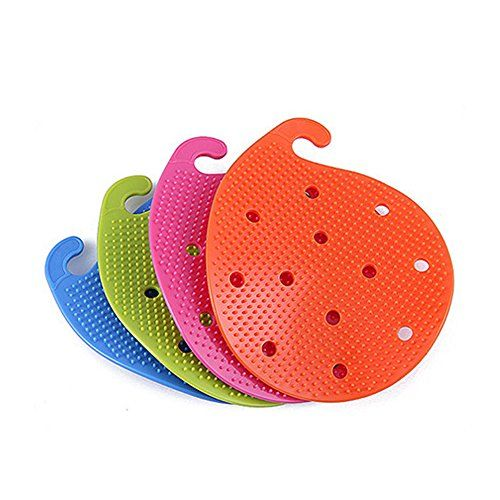 Fourthdec Pack4 Fruit Vegetable Scrubber Brush Double Sided Green Orange Blue Pink >>> See this great product.
