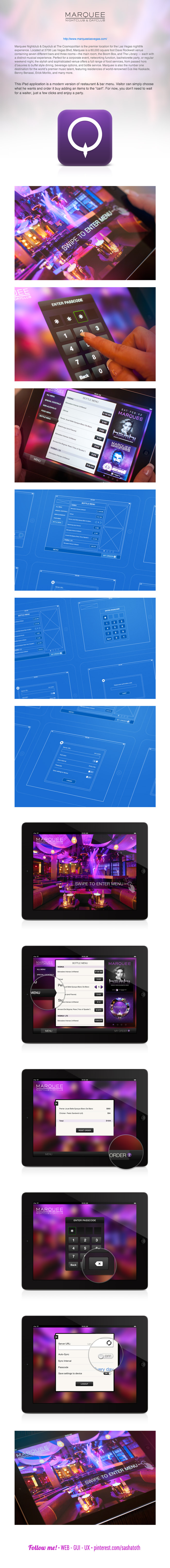 Marquee Restaurant & Bar Menu for an iPad by Valik Boyev, via Behance *** #app #ios #gui #ui #behance