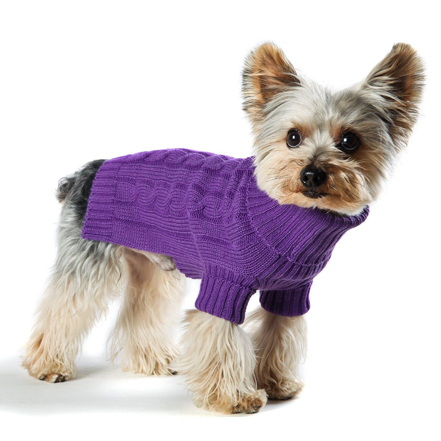 Amazon Com Stinky G Violet Turtleneck Dog Sweater Classic Aran
