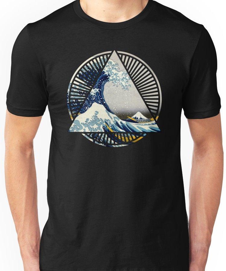 1a42fd6772fa Hokusai - 36 Views Of Mount Fuji - Great Wave Off Kanagawa Geometric  Triangle Shirt Unisex T-Shirt