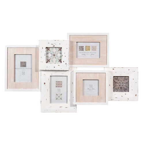 Cornice fotografica 6 scatti in legno bianco 67 x 40 cm ANICET