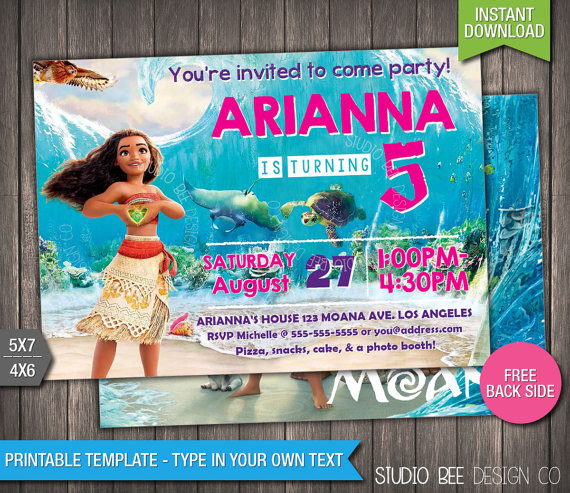 Moana Birthday Invitation 50 OFF