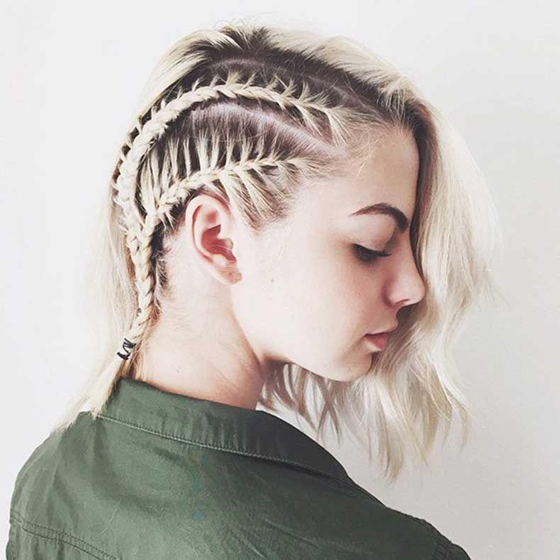 Tranças para cabelos curtos.