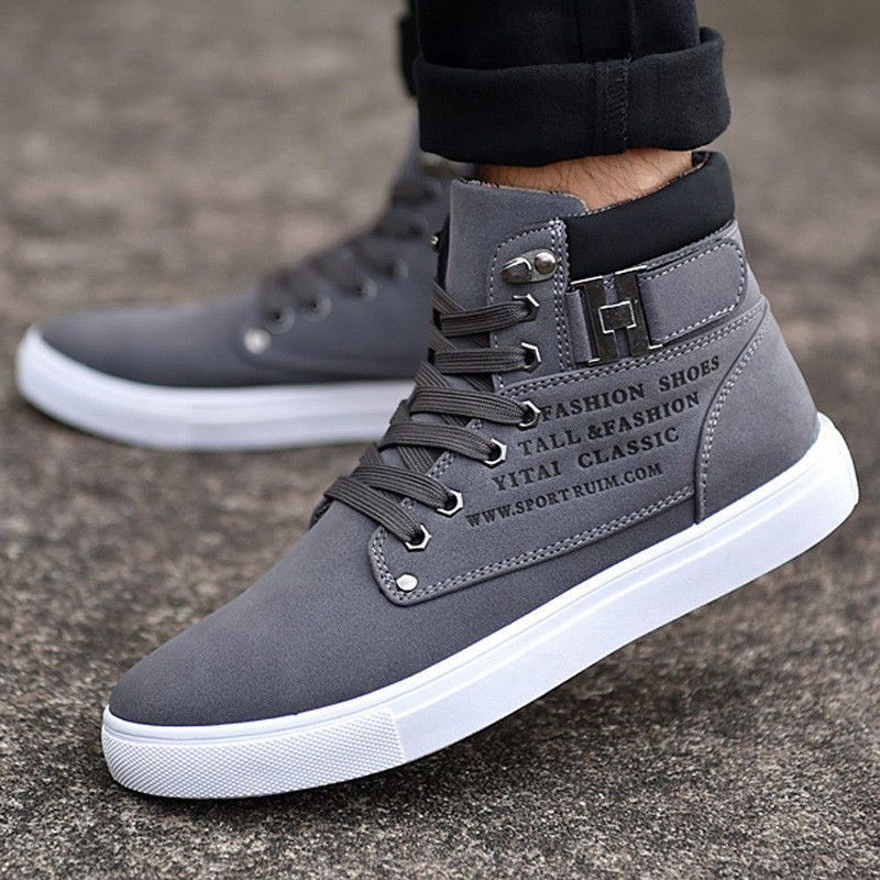 Fashion Mens Oxfords Casual High Top Shoes Leather Shoes Canvas