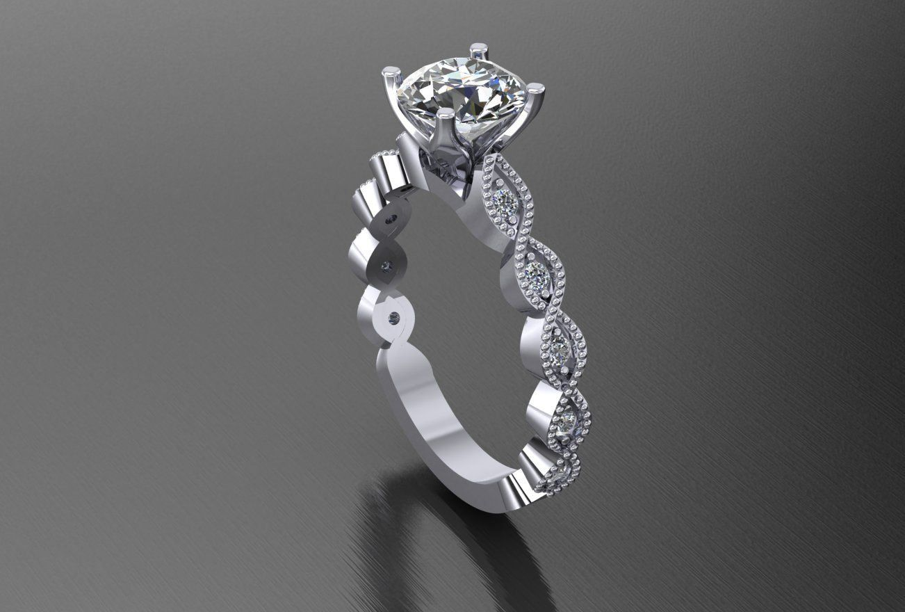 Womenus engagement ring infinity pave diamond round brilliant white