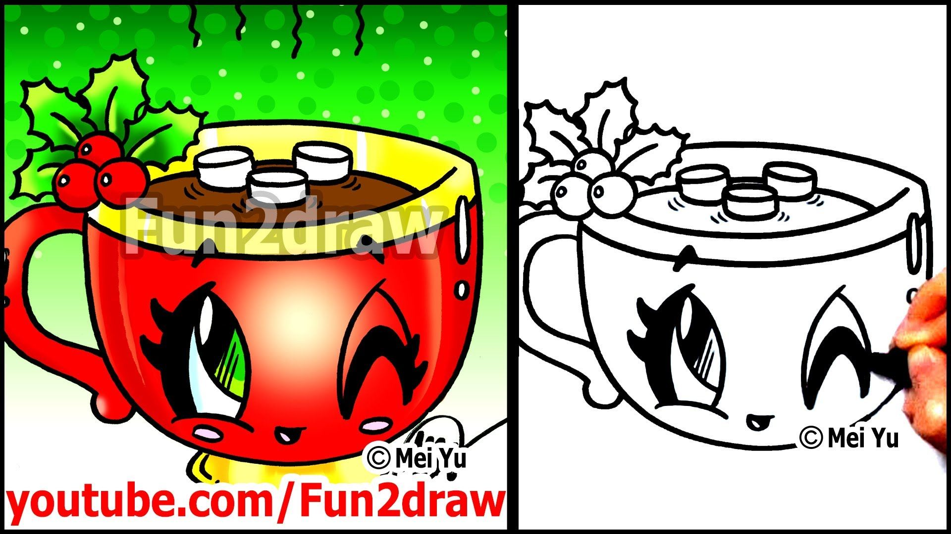 How to Draw Christmas Hot Chocolate with Holly