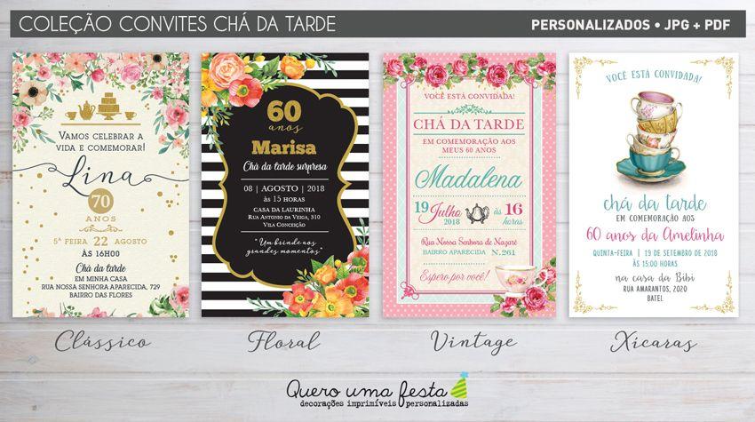 Convite Cha Da Tarde Entre Amigas Convite Rosas Convite Cha Da