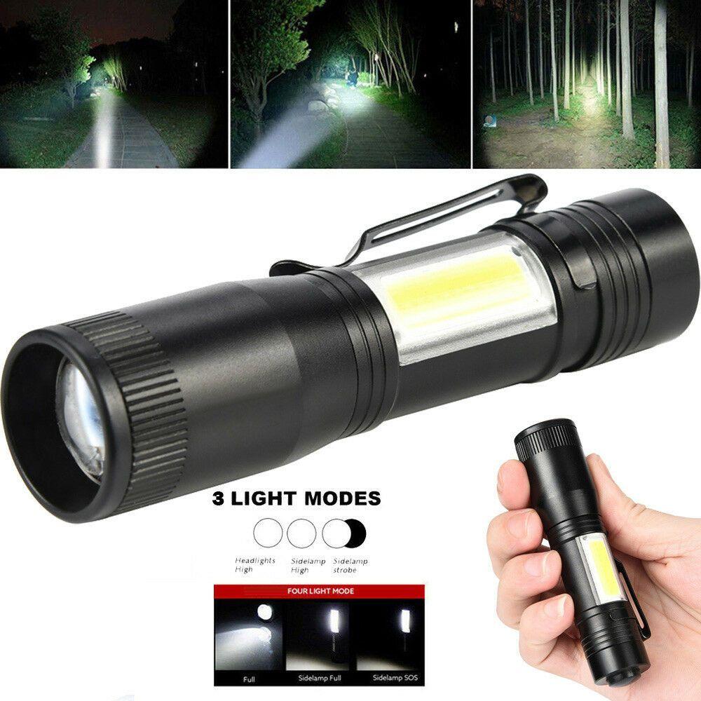 1//2x Super Bright COB LED mini Flashlight Small Torch Pocket Lamp Lights Outdoor