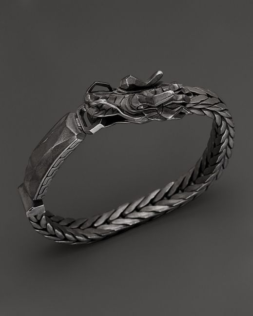 4cf330e9bf8c John Hardy Men's Naga Sterling Silver Dragon Head ID Bracelet with ...
