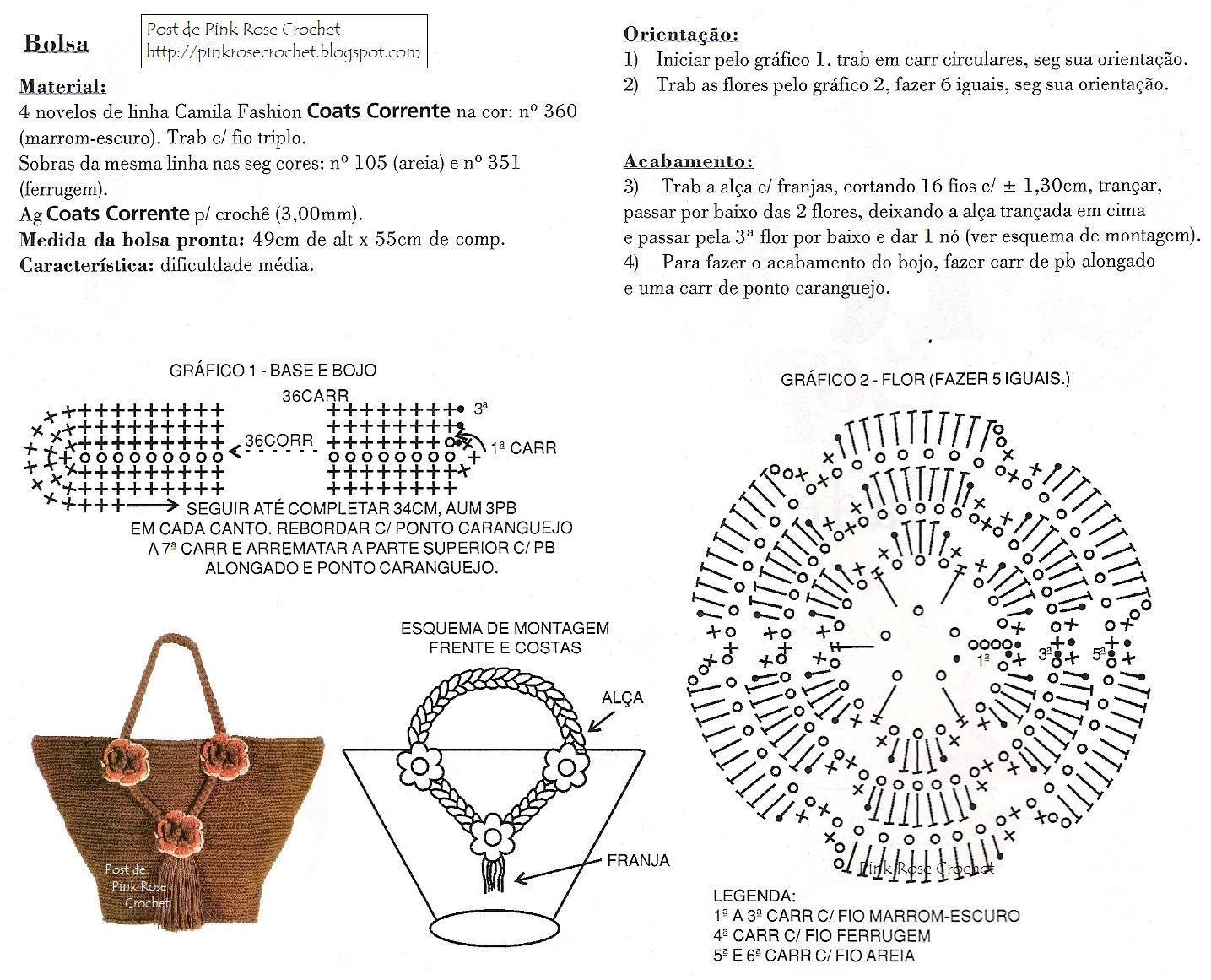 Free Crochet Purse...Pattern/Diagram...translate. | :: PATTERN ...