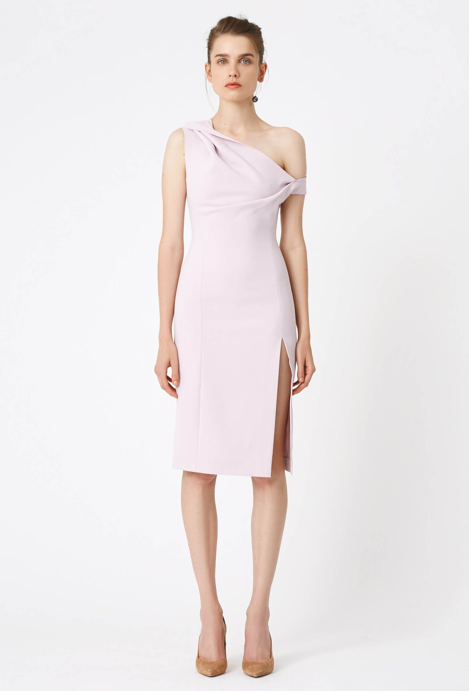 6004b5528d19 Image 3 of AQ AQ Didion One Structured Midi Dress with Side Split · Pink