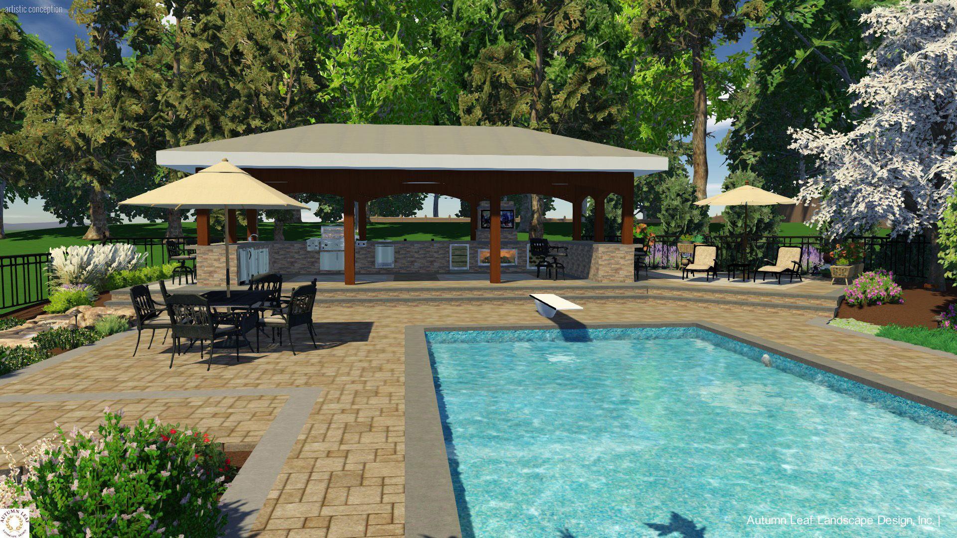 Pool Patio & Pavilion 3D Landscape Design Brookville NY