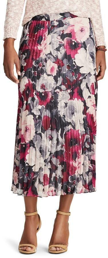 2adcb5558 Women's Chaps Floral Georgette Pleated Skirt | Products | Pleated ...