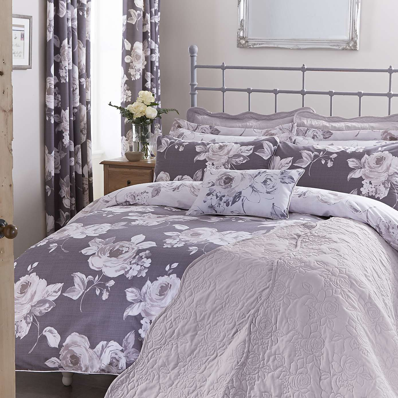 Charcoal Pretty Vintage Bed Linen Collection - Dunelm
