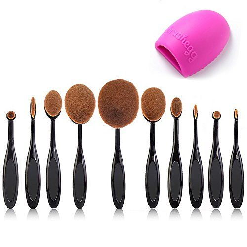 BeautyKate Pro 10 Pcs Oval Makeup Brush Set Foundation Contour Concealer Blending Cosmetic Brushes 1 Brush Cleaner