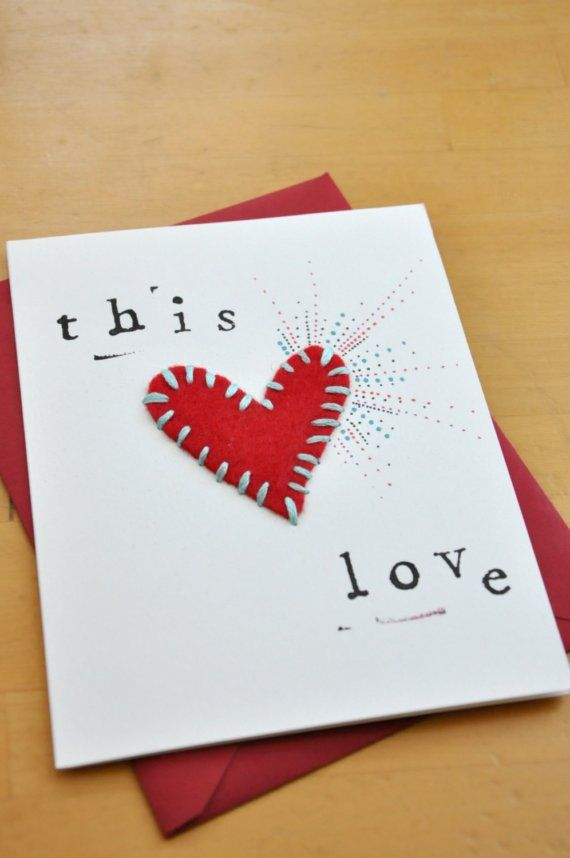 Fun diy valentine 39 s day card idea felt heart cards for Cute valentines day card ideas