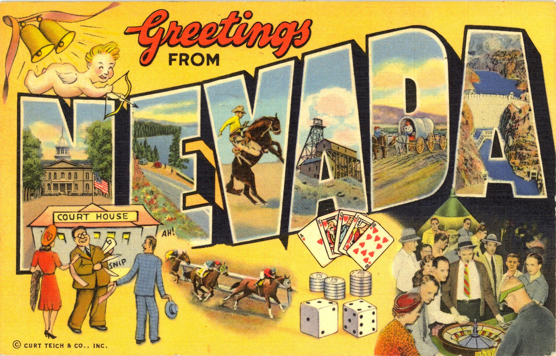 Greetings From Nevada Vintage Postcard Vintage Greetings From
