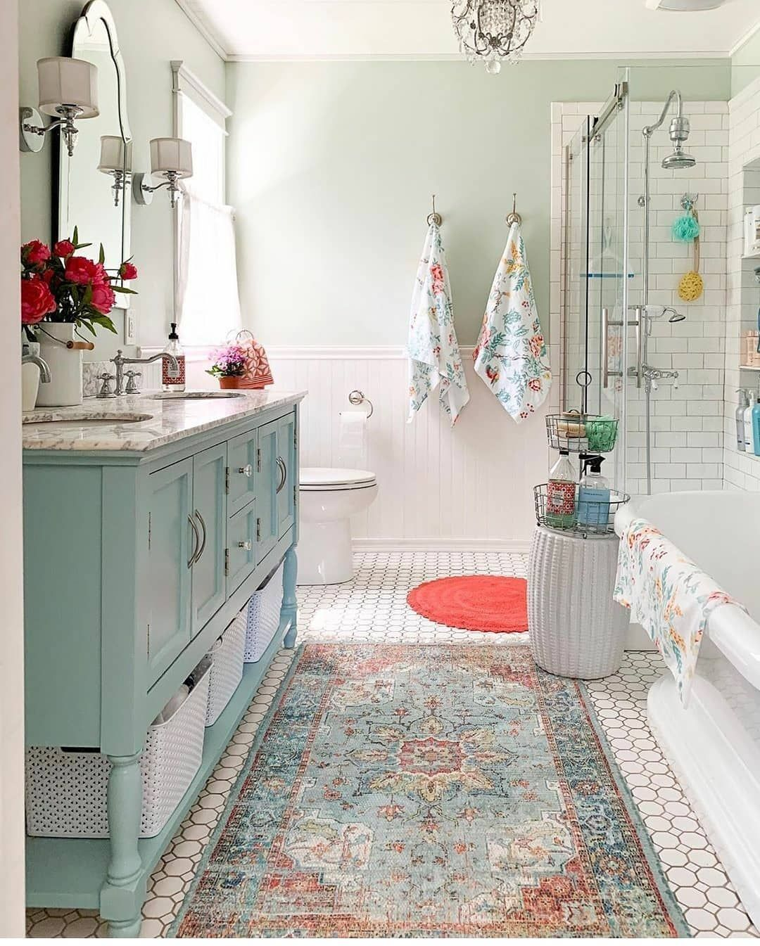 4 180 Likes 80 Comments Farmhouse Stylebook Farmhousestylebook On Instagram This Bathroom Is One Master Bathroom Decor Bathroom Rugs Vintage Tub Bath [ 1345 x 1080 Pixel ]