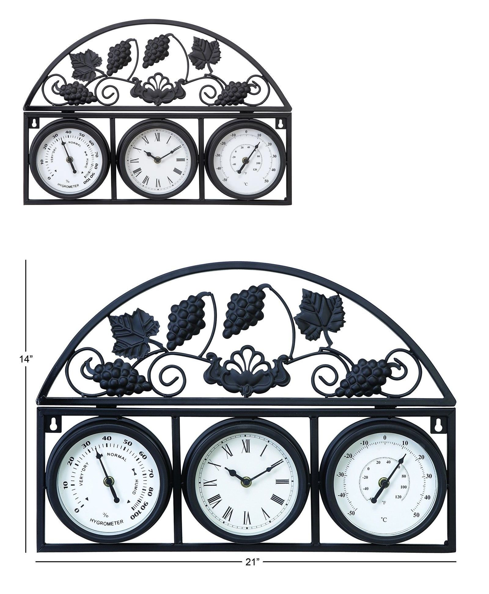Outdoor Thermometers 75601: Metal 14 Inch Clock Outdoor Thermometer Garden  Patio Decor  U003e