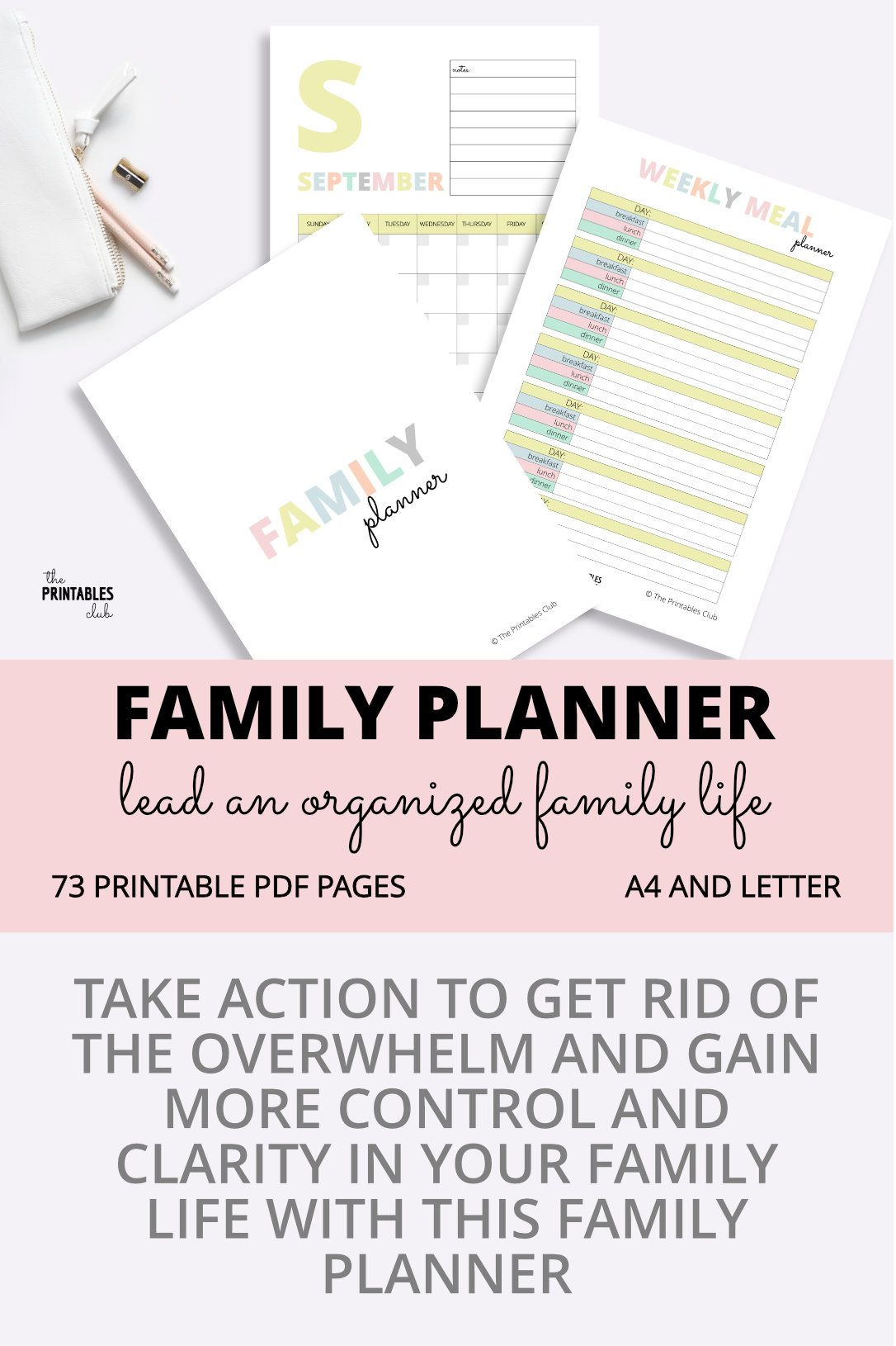 Take Action To Get Rid Of The Mom Overwhelm And Gain More Control And Clarity In Your Family Life With This Fa Family Planner Family Planner Printables Planner