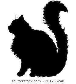 Black Silhouette Of A Cat With A Long Fluffy Plush Tail White Background Black Cat Silhouette Black Cat Tattoos Cat Silhouette Tattoos