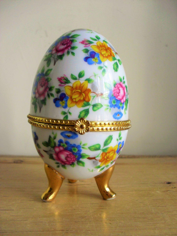 Easter egg vintage porcelain egg floral hinged egg trinket pot china easter egg vintage porcelain egg floral hinged egg trinket pot china egg gift for her pink negle Gallery