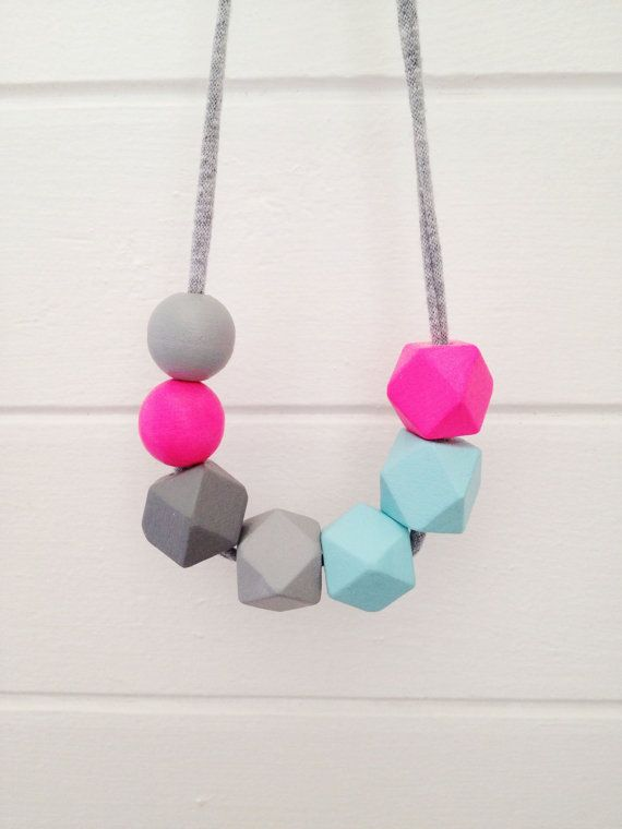 neon handpainted wooden bead necklace on recycled fabric string - geometric beads in pink, blue and grey ombre
