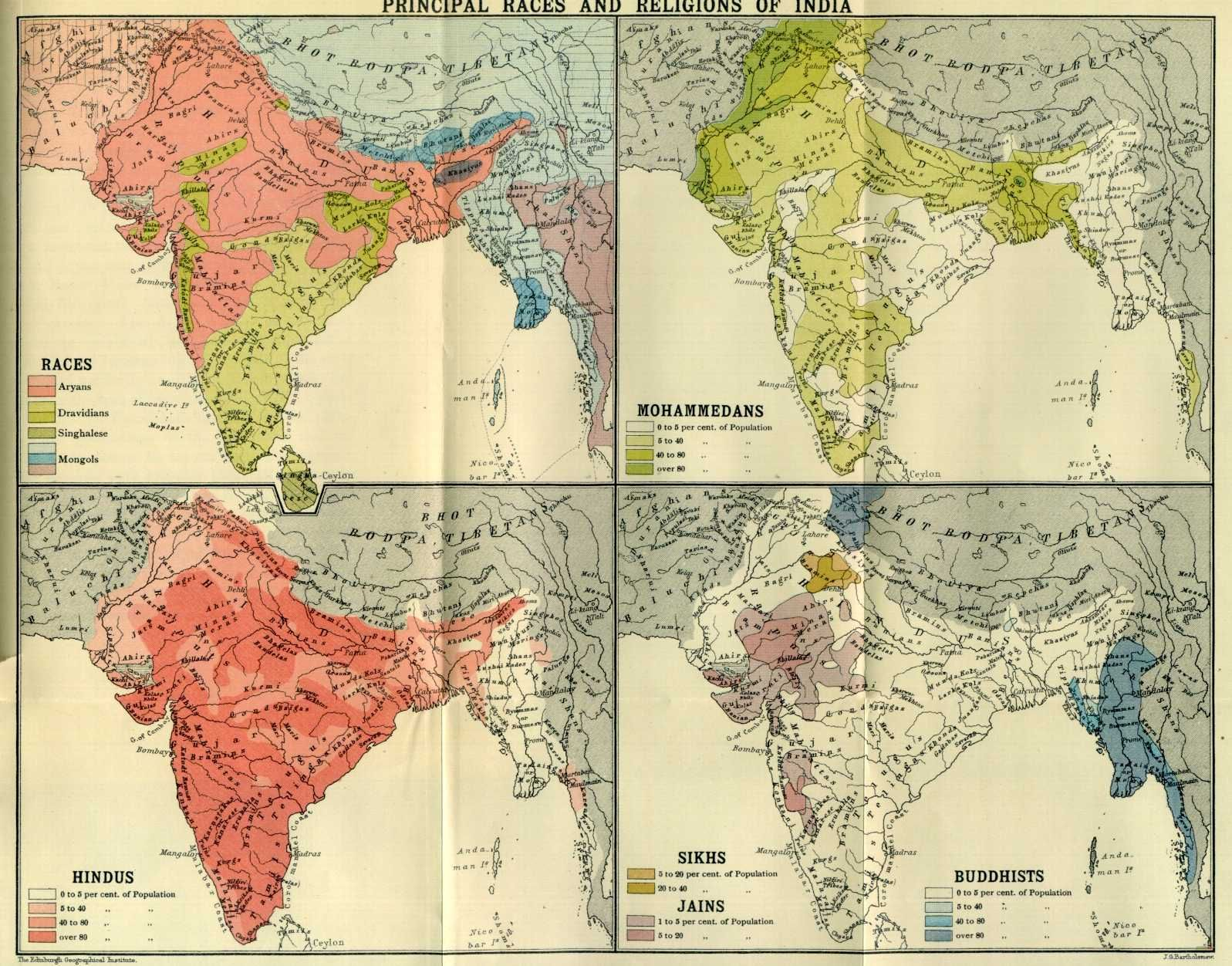 Map Of The Races And Religions Of India C 1900 India Religion