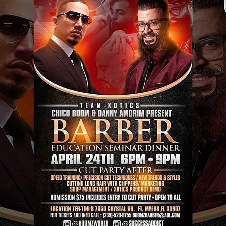 THE WAIT IS OVER CHICO BOOM DANNY AMORIM BARBER EDUCATION SEMINAR & DINNER!!! APRIL 24thHit the link in my bio to sign up today! THIS IS GOING TO BE A SOLD OUT EVENTWITH  A CUT PARTY AFTER THE CLASS hosted by Team Xotics FEATURING A LINE UP OF ALL STAR BARBERS SHOWCASING THEIR TALENTS For tickets and info call (239)-529-8755 or email boomzbarber@aol.com #Xotics #Boom #SuccessAddict #Barber #Education #Seminar #Dinner #Stylist #Barber #Hair #Passion #Love #Deign #FreeStyle #LongHair…