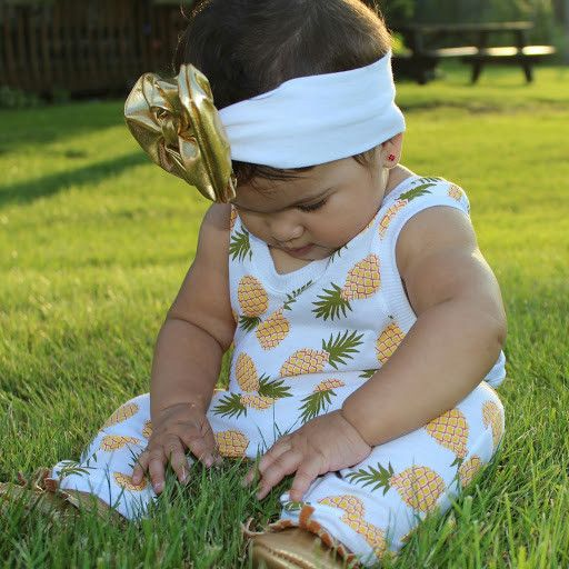 8e629a909bc5 Tropical Colada - Pineapple Romper for Baby Girl Outfit