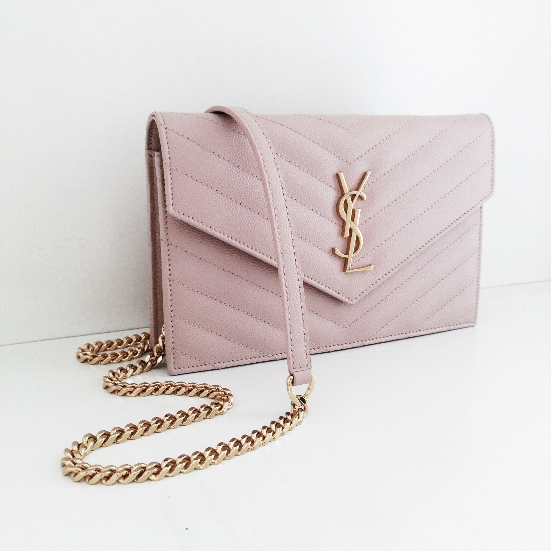 50d6173ba27 Saint Laurent Monogram Wallet on Chain WOC pale pink ghw | My ...
